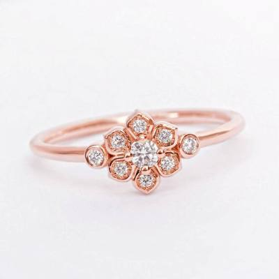 Charming 14k rose gold petite flower diamond ring sale online 018 carats unique petite flower diamond ring in 14k rose gold for engagement special 080 carats pretty vintage crown ring decorated white diamonds with mightylinksfo