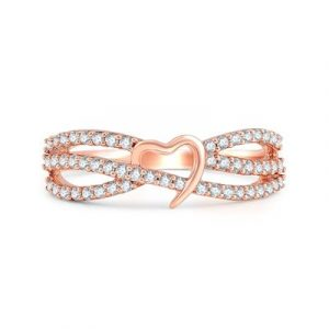 Petite Twice Vine Diamond Heart Ring