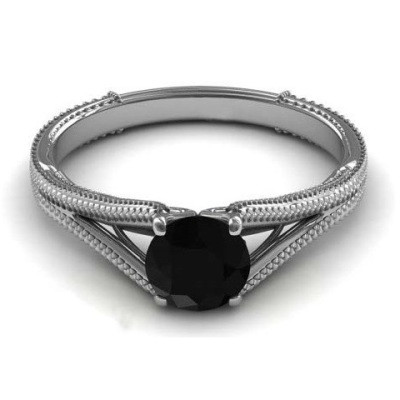 Solitaire Black Diamond Engagement Ring