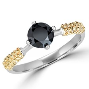 Natural Black Diamond Two Tone Gold Engagement Ring