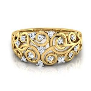 casual swirl diamond ring