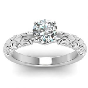 filigree engagement ring white gold