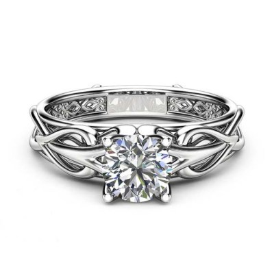 diamond Flower Prong Ring