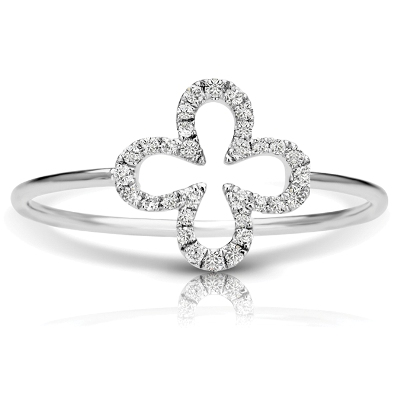 four leaf diamond engagement ring