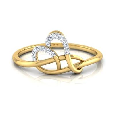 Twine Heart White Diamond Ring