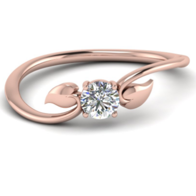 rose gold solitaire flower ring