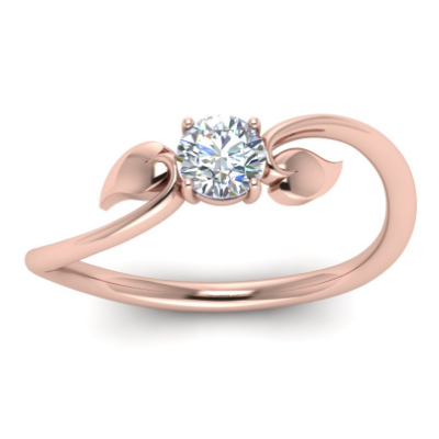 Rose Gold diamond Solitaire Flower Ring