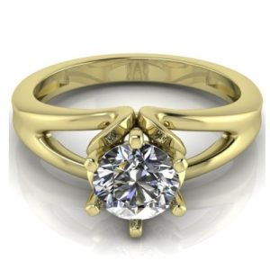 solitaire yellow gold diamond ring