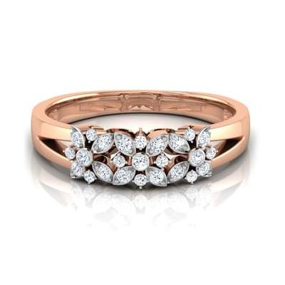 trio floral diamond ring