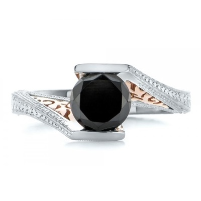 solitaire black diamond gold engagement ring