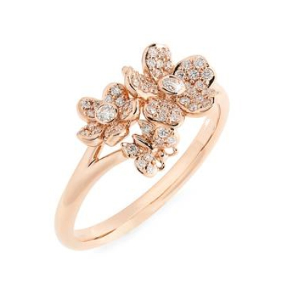 White diamond rose gold flower ring online sale for wedding special italian design 023 carats white diamond rose gold flower ring 005 carats elegant tiny black diamond flower ring in 14k rose gold for engagement mightylinksfo