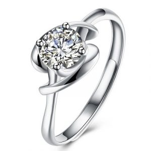 white gold diamond solitaire twist ring