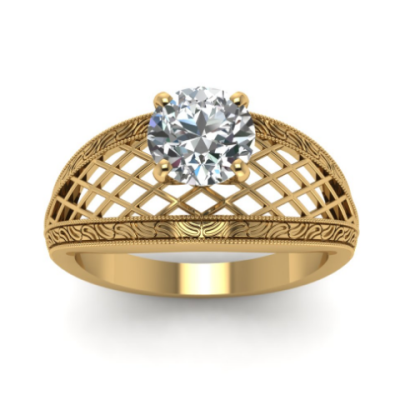 Unique Wide Band Diamond Ring Solitaire Crafted By 14k Yellow Gold