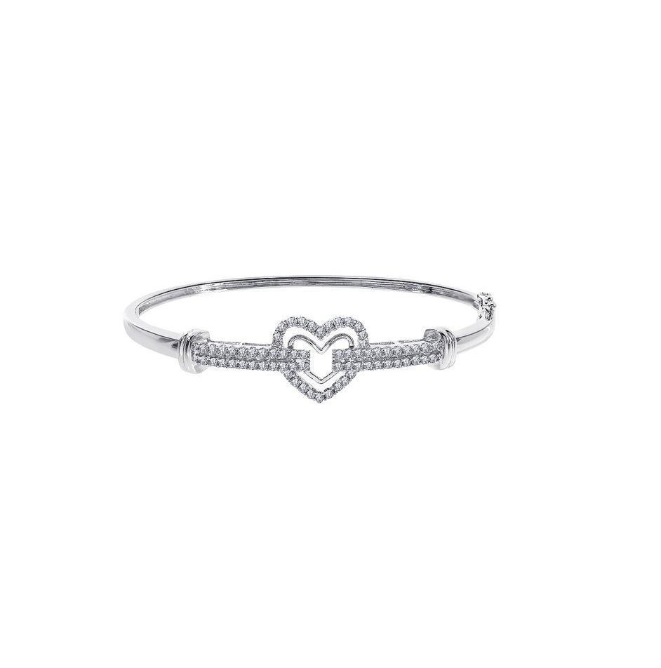 heart shape diamond bangle bracelet