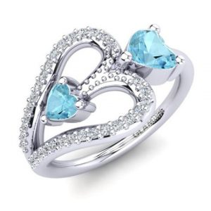 light blue aquamarine wedding ring
