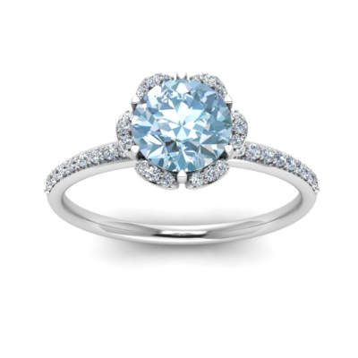 floral halo aquamarine engagement ring