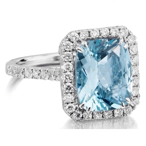 genuine aquamarine engagement ring