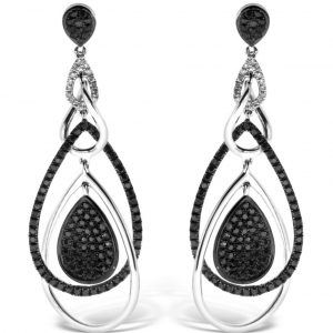 black and white diamond dangle earring