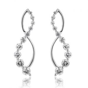 infinity white gold diamond dangle earring