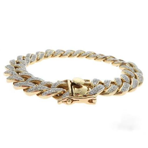 Cuban Link Bracelet With 6 Carat Diamonds In 14k Yellow Gold Flower Diamond Bangle Braceletantique