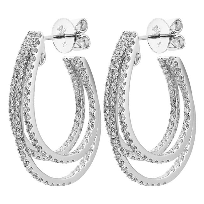 triple hoop diamond earring