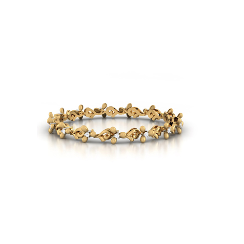 flower gold diamond bangle bracelet