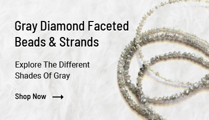 Gray diamond faceted beads
