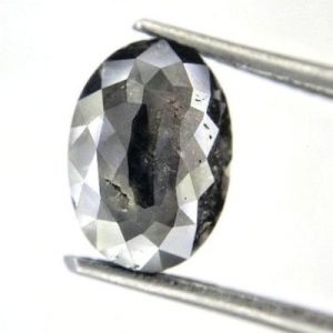 rose cut oval salt and pepper diamond