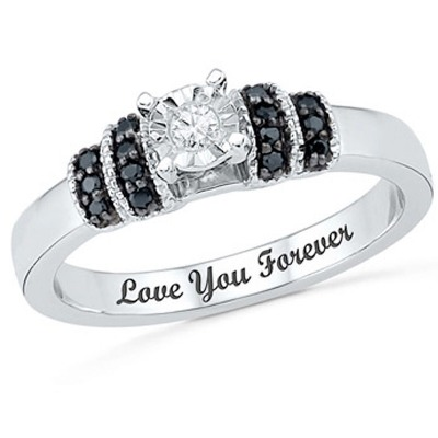 black and white diamond promise ring