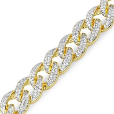 Cuban Link Chain For Sale >> Cuban Link Chain Bracelet In 14k Yellow Gold For Sale
