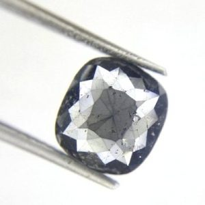 oval rose cut salt and pepper diamond