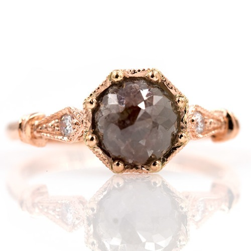 grayish brown rose cut diamond engagement ring