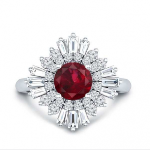 baguette diamond ruby ring