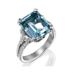 square aquamarine ring