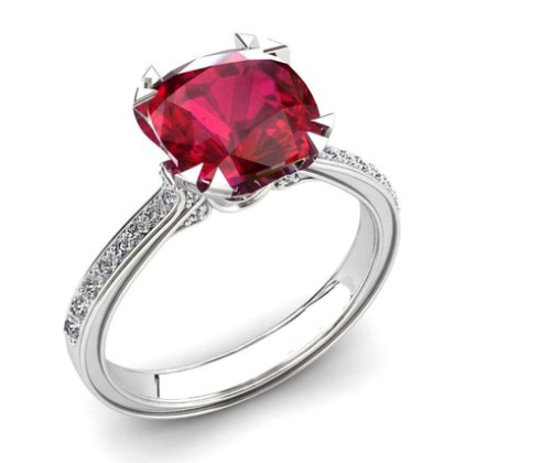 Ruby Engagement Ring In 14k White Gold 2.25 Carats For Sale