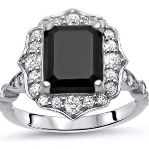floral black emerald ring