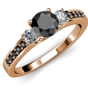 three stone rose gold engagement ring