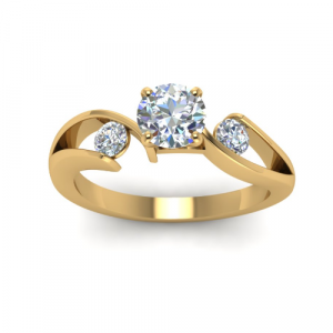tension style three stone engagement ring