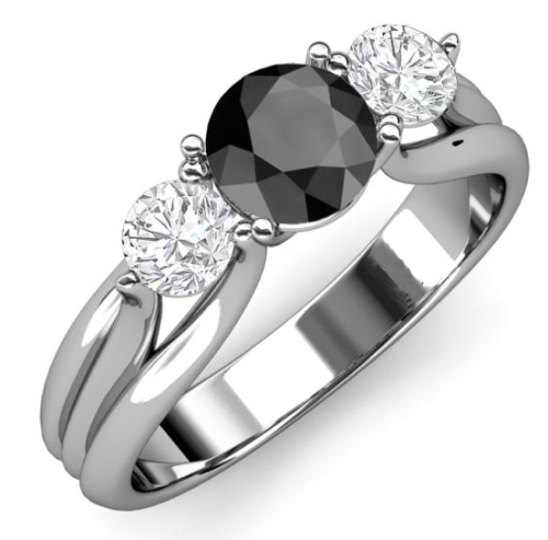 white gold three stone engagement ring