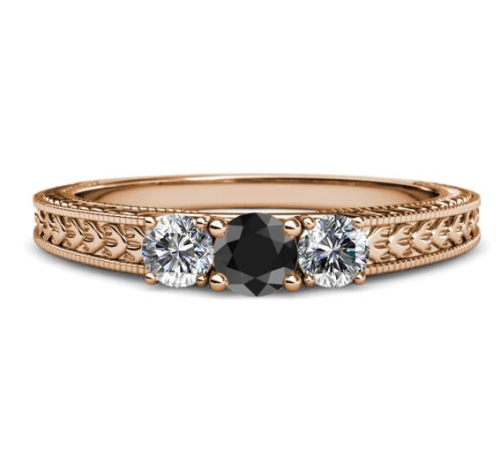 rose gold three stone diamond ring