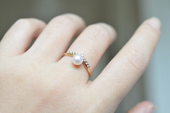 pearl engagement ring rose gold
