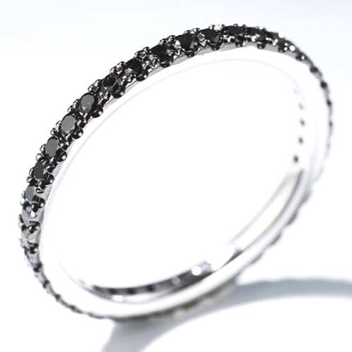 white gold black diamond eternity ring