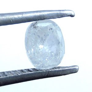 White oval cloudy diamond