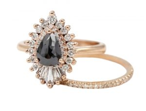 black diamond pear engagement ring