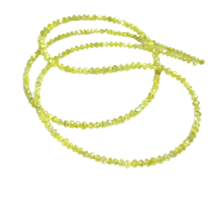 yellow diamond faceted beads necklace