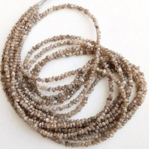 brown raw uncut diamond beads strand