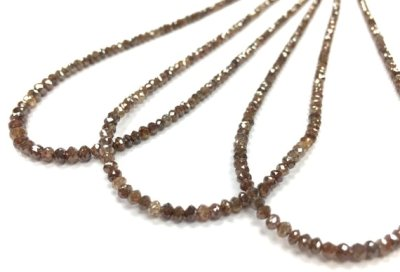 brown diamond faceted beads necklace