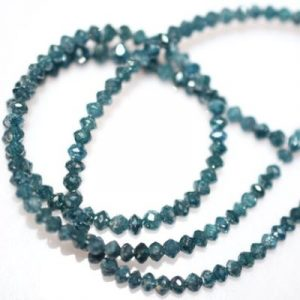 faceted blue diamond beads necklace strand