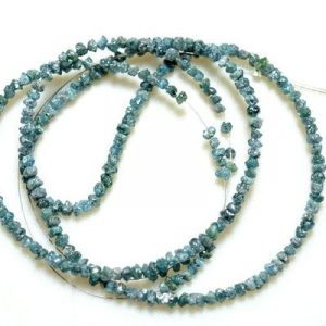 raw uncut blue diamonds strand