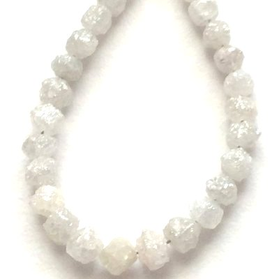 white uncut diamond beads